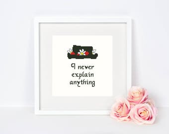 Mary Poppins Cross stitch pattern Silhouette Disney quote I never explain anything Typography Nursery Baby room Instant download PDF #378
