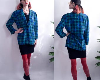 80's Teal Plaid and Floral Lightweight One Button Blazer - Fink Modell