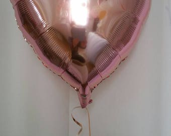 Rose Gold Heart Foil Balloon, Wedding, Engagement, First Birthday, Baby Shower. Pretty Foil Balloon in Rose Gold