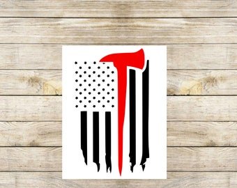 Thin red line axe flag, tattered flag, downwards flag, firefighter flag, fireman decal, firefighter decal, tumbler decal, car decal, laptop