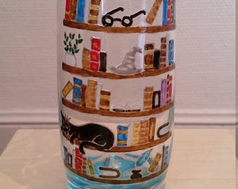 Hand painted water glass: the library