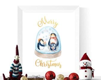 Christmas Printables | Watercolor Penguin Snowglobe Merry Christmas Printable | Christmas Prints  | Christmas Decorations | Christmas Decor