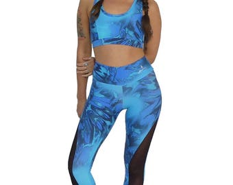 Yoga Leggings - Blue Mermaid