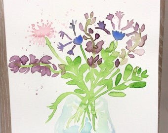 Watercolor Painting of Wildflower Bouquet in Vase, Watercolor Flower Painting, botanical watercolor art print
