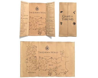 Game of Thrones Map // Westeros Map // Essos Map // Seven Kingdoms Map // GOT Map // Map of Westeros // Game of Thrones Gift