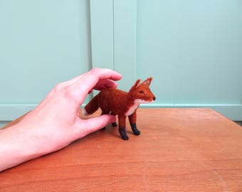 miniature fox, needle felted fox, woodland animals, fox sculpture, needle felted animals, felt ornament, felt wildlife sculpture