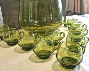 Green Glass Vintage Punch Bowl and Cups/ Mugs/ Glasses