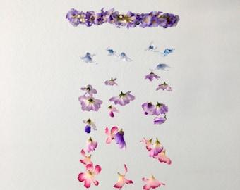 Floral Mobile, Flower Mobile, Fake Flower Mobile, Nursery Mobile, Baby Mobile, Floral decor, Floral wall hanging, Hanging mobile, Mobile