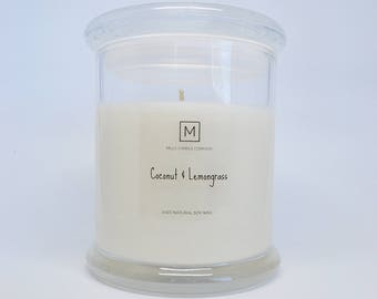 COCONUT & LEMONGRASS | Soy Wax Candle | Glass Container