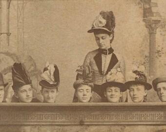 Queen of Hearts Gets A-head   Photographic 1800's Carte De Visite   Mirthful Victorian Portrait   Ladies & Gentlemen   Millinery Amusements!