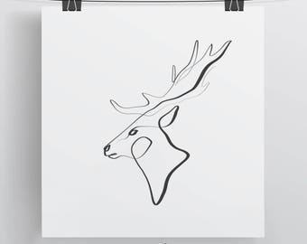 Deer Wall Art, Animal Calligraphy Print, Contour Line Art, Deer Decor, Black and White Art, Minimal Animal