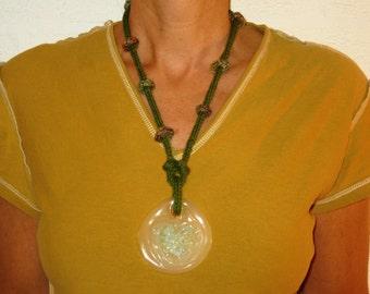 Bohemian pendant, green pendant, long, wool, plastic, glass, knitting, light, wife, daughter, handmade, Unique, Original