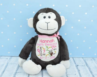 Personalised embroidered Teddee Monkey Teddy Bear  birthday new baby gift /Easter christening gift