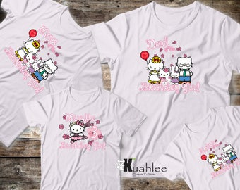 Hello Kitty Girl Birthday Party Shirt, Personalized shirts, Custom Family Set Shirts, Available in White for Girl