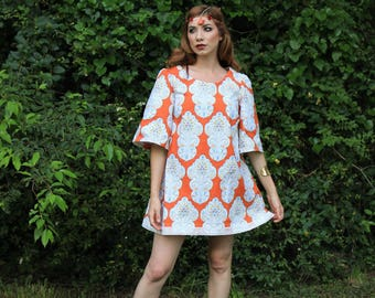 Orange And White Print Flare Dress - Ready To Ship