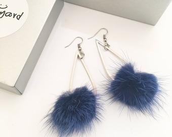 Handmade Earrings/Handmade Dangle and Drop Earrings with Big Dark Blue Fluffy Ball