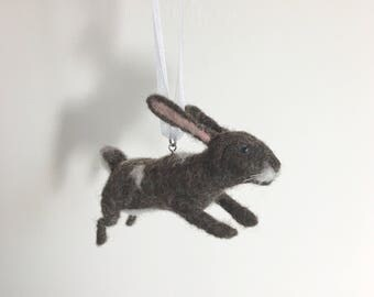 Leaping Needle Felted Rabbit, Wool Felt Jumping Bunny ornament