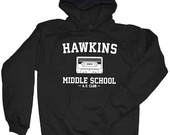 Hawkins Middle School AV Club Hoodie. Hawkins Middle AV Club Hooded Sweatshirt. Hawkins Middle School AV Club. S -3XL.