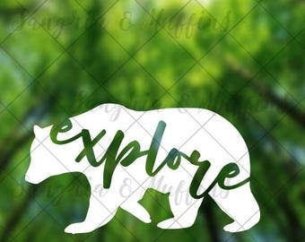 Bear Explore decal - car decal - window decal - laptop decal - tablet decal - travel, hiking, outdoors decal