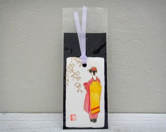 Paper bookmark Japanese handcrafted paper wahi Geisha girl in Kimono Made in Japan