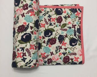 Modern Quilt, Whole Cloth Quilt, Modern Baby Quilt, Baby Blanket, Bedding, Nursery, Crib, Lap Quilt, Floral Quilt