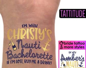 Let's Get Nauti Nautical Bachelorette Party Tattoos | Brides crew, last sail before the veil, lets get nauti themed bachelorette tattoos