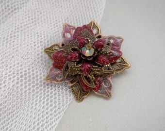 Renaissance brooch Red brooch bronze flower brooch filigree brooch painted brooch gift for mother wife gift brooch gift dark red flower