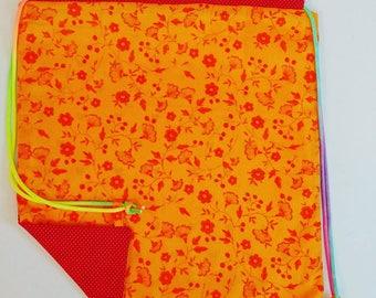Nature/Polka dots Reversible Drawstring Bag