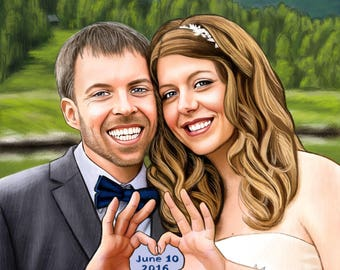 Anniversary Gift, Couple Caricature, Cartoon from Photo