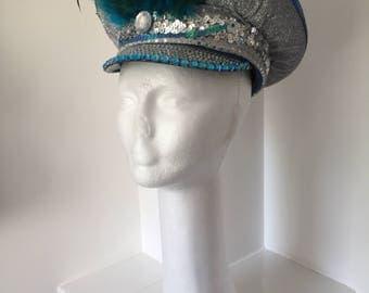 Beautiful Silver & Aqua Blue Burning Man Military Hat - Burning Man Fashion