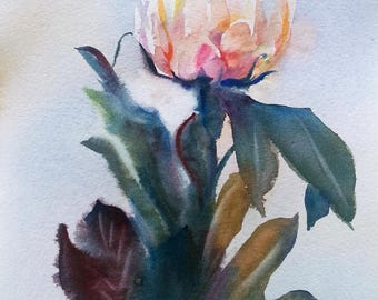 Peony flower - Original Watercolor Painting