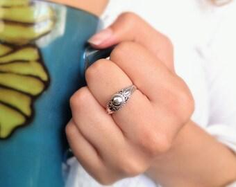 Boho ring - Bali ring - gypsy ring - bohemian ring - oxidize ring - filigree ring - sterling silver ring - nickel free ring - free shipping