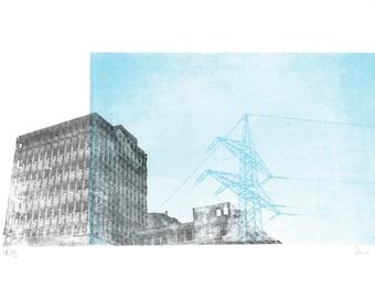 Aldringer screenprinted poster A3 two colours, architecture pylon art print