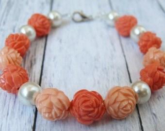 Peach flower bracelet Orange rose bracelet White pearl beads jewelry Summer fashion bracelet Peach jewelry Chunky Floral Delicate bracelet