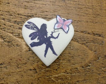 Fairy magnet fridge magnet, clay heart fairy design fridge magnet with butterfly.