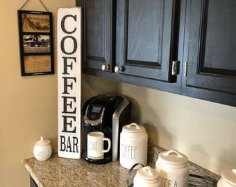 Vertical Coffee bar sign, rustic coffee bar sign, coffee sign
