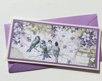 Greeting card for various occasions -  With garden and birds