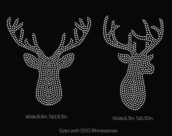 Deer head, deer antlers rhinestone template digital download, svg, eps, studio3, png, dxf