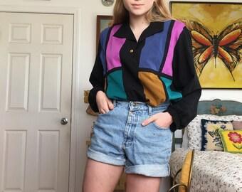 Vintage 80s Color Block Blouse