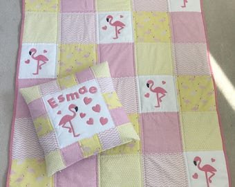 Personalised Baby Bedding Set, Cot Quilt, Cot Bedding, Baby Bedding, Pink/Yellow Patchwork Quilt.