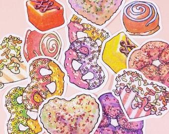 Glitter dessert stickers, Fairy kei treats sticker pack, spritz cookie, bonbons, candy shop heart, lolita pastries, girly, barbie tea party