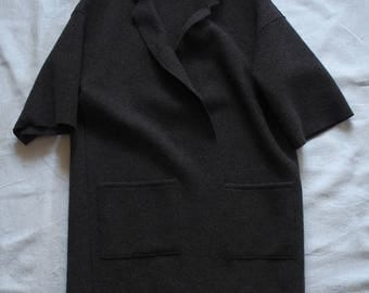 Dark gray jacket in boiled wool