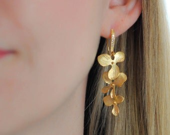 Earrings Yellow Gold Flower Orchid wedding Bridal jewelry