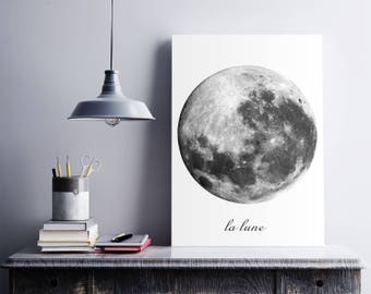 Moon Print, Moon Photo, La Luna Print, Planet Wall Art, Moon Photography, Moon Art, Full Moon Poster. Black and white poster. Free shipping.