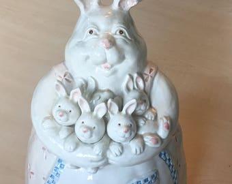 Fitz & Floyd Cookie Jar, Mother and Bunnies Cookie Jar, Vintage Cookie Jar, Ceramic Cookie Jar. Rabbit Cookie Jar.