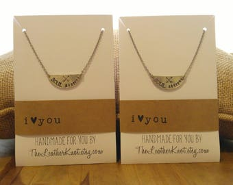 SET of Pewter Soul Sisters Necklaces with Crossed Arrows, Stainless Steel Chains, Gift Set, Matching Necklaces, Stamped Organic USA made