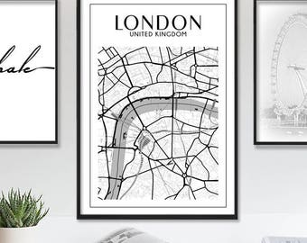 London Map Print, London Wall Art, London Print, London Map, Map of London, London Wall Decor Printable Wall Art Prints City Map Poster