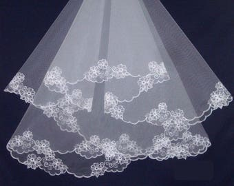 Two tier embroidered bridal veil, Two layer lace veil, Blush veil, Fingertip veil, Short veil, Cathedral veil, Ivory veil, Custom veil
