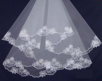 Two tier embroidered bridal veil, Two layer lace veil, Blush veil, Fingertip veil, Short veil, Cathedral veil, Ivory veil, Custom veil