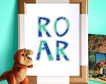 Dinosaur Wall Print, Kids Roar Printable, Bright Kids Print, Kids Decor, Nursery Wall Print, Nursery Art, Kids Room Art, Colorful Kids Art